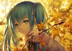 Anime Vocaloid  Hatsune Miku Blue Hair Fall Blue Eyes Twintails Leaf Bow (Clothing) Girl Wallpaper