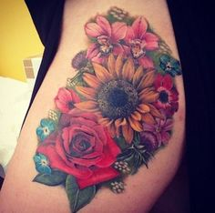 sunflower tattoo - 45 Inspirational Sunflower Tattoos <3 <3