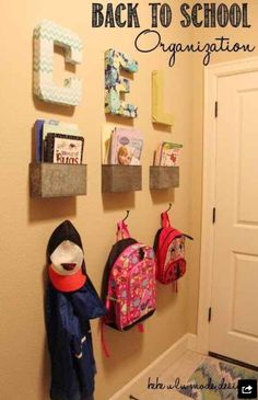 Letter for each kid, bin for folder and notes, hook for belongings! Love it!