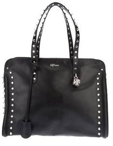 ALEXANDER MCQUEEN Black Leather Studded Skull Charm Tote Bag Handbag NWT