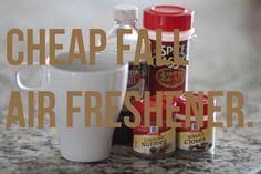 Check out this yummy fall air freshener that will cost you pennies!  Just put 2 tsp Vanilla Extract,1/2 tsp ground nutmeg, 1/2 tsp ground cinnamon, and 2-4 cloves into a mug and heat in the oven at 300 degrees for 1 hour.  The smell is heavenly! http://fabulesslyfrugal.com/?p=175448