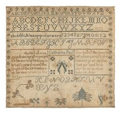 Pennsylvania silk on linen sampler, dated 1833, wrought by Catharina Paul, possibly Dauphin County