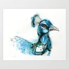 Turquoise Peacock Art Print by Abby Diamond - $17.68