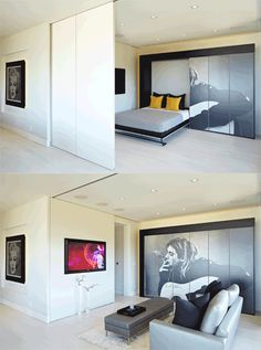 """:: Havens South Designs :: loves how ceiling tracked recessed doors retract into the wall and how the slab doors hide storage and hide a murphy bed while being """"wall papered"""" in an oversized photo reproduction. How artful."""