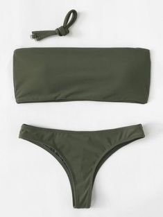 Women's Army Green Bandeau Top Two Piece Swimsuit Bikini Set with Detachable Straps Strap Bikini, Thong Bikini, Bikini Set Sale, Bikini Pattern, 2 Piece Swimsuits, Grey Roses, Cute Bathing Suits, Green Tops, Army Green