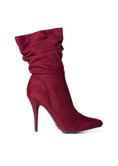 20ae136bb21f6 Fashionista Slouchy Heeled Booties in Burgundy
