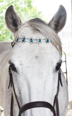 Beaded Browband Horse in Teal and Silver by RedHorseAndCoDesigns