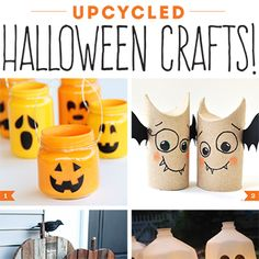 Don't throw away those toilet paper rolls, coffee cans, mason jar lids, or cereal boxes just yet – use them to make fabulous upcycled Halloween crafts!