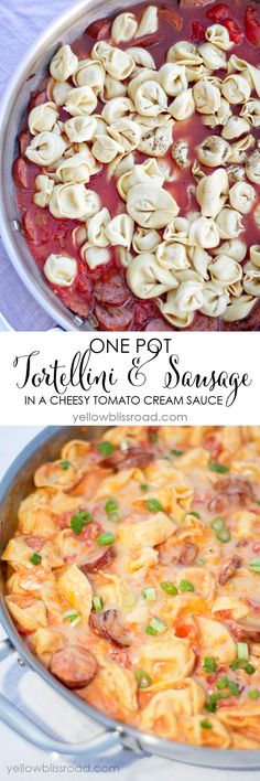 One Pot Tortellini and (Turkey) Sausage in a Cheesy Tomato Cream Sauce - A delicious meal that's ready in 20 minutes!