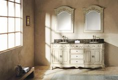 """Naples 72"""" Double Sink Bathroom Vanity Cabinet - Antique White Finish - Take a trip to the Italian countryside with the Naples Collection. This gorgeous claw foot vanity is infused with detailed scrollwork and an antique white finish for a flawless look of prestige and intricacy. The ornate woodworking adds flavor and class to this collection for easy integration into your bathroom space. Relax in your bathroom with the tranquil design of the Naples collection."""