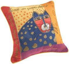 Amazon.com: Brentwood Laurel Burch 18-Inch Embroidered Tapestry, Blue Cat with Red Face, Orange: Bedding  Bath