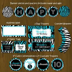 Turquoise and Zebra Stripes Printable by SplashboxPrintables, $27.00