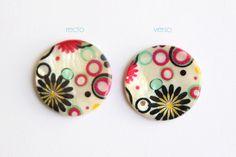 Perle plate nacrée motifs fleurs et bulles ronds colorés • Joli Mercredi • Accessoires pour bijoux DIY • http://www.alittlemercerie.com/boutique/joli_mercredi-45509.html