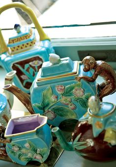 Whimsical 19th-century majolica pottery adds personality to a tea party - Traditional Home®