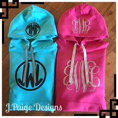 Sparkle Monogram Hoodies jpaigedesigns13@gmail.com