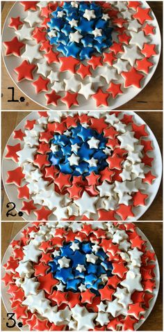 Constructing Patriotic Platter of cookies Iced Sugar Cookies, Star Cookies, Mini Cookies, Cut Out Cookies, How To Make Cookies, Patriotic Sugar Cookies, Frosted Cookies, Summer Cookies, Fancy Cookies