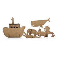 Cardboard Noah's Ark set from Buru-Buru Cardboard Cartons, Cardboard Toys, Paper Toys, Cardboard Animals, Diy For Kids, Crafts For Kids, Cardboard Christmas Tree, Paper Art, Paper Crafts