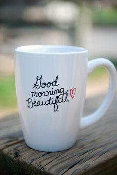 Good Morning Beautiful 14 oz Coffee Mug. $18.00, via Etsy.