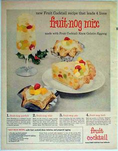 Knox Gelatin 1957 Holiday Ad - Fruit-Nog Mix Recipe Ideas