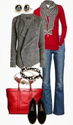 Love the red long sleeve tee with the hounds tooth scarf.  I would have to pass on the purse, Love my black crossbody:)