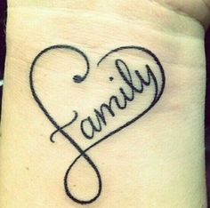 Family tattoo - I don't like the F.  I would have Family, including the F inside the heart, not part of the heart.  and have smaller hearts on the outside of the heart to represent my kids