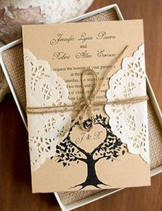 country style lace and burlap rustic wedding invitations