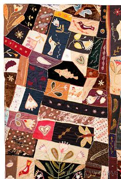 Antique Crazy Quilt, Circa 1870 to 1890, American, Silks and Velvet, detail 1