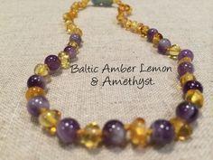 Polished Lemon Amethyst Baltic Amber Necklace for Baby, Infant, Toddler, Big Kid.