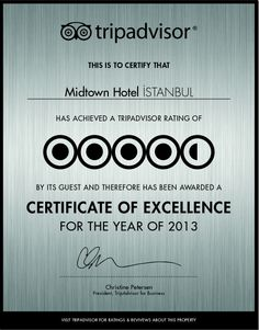 Certificate of Excellence for 2013