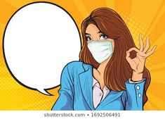 Business Woman okay gesture action with woman with a blue medical mask. The concept of stopping a new coronavirus outbreak worldwide. Pop Art Drawing, Art Drawings, Pop Art Girl, Art Pop, Pop Art Women, Pop Art Wallpaper, Instagram Frame, Jolie Photo, Cute Cartoon