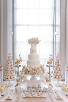 Classic pink inspired dessert table: http://www.stylemepretty.com/canada-weddings/ontario/toronto/2016/03/28/pretty-in-pink-romantic-garden-inspired-fall-wedding/ | Photography: Mango Studios - http://mangostudios.com/