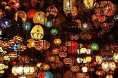 Lanterns at Istanbul Grand Bazaar Istanbul Tours, Grand Bazaar Istanbul, Istanbul Turkey, Places Around The World, Around The Worlds, Turkish Lamps, Pamukkale, Adventure Is Out There, Looks Cool