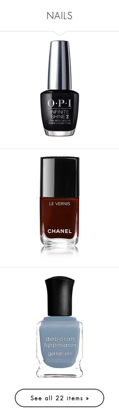 """NAILS"" by yogalover1960 ❤ liked on Polyvore featuring black, beauty products, nail care, nail polish, beauty, makeup, nails, chanel nail color, chanel and shiny nail polish"