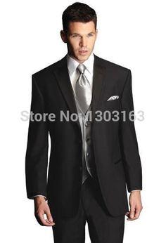 Suits New Design Black Notch Lapel Groom Tuxedos Groomsmen Men's Wedding Suits Best man Suits Jacket+PantsVestTie Free Shipping