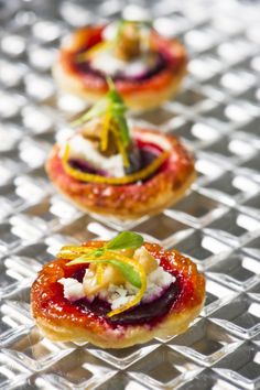 Spring Racing delights... Beetroot tarte tatin - Woodside goat's curd, watercress, candied walnuts #MelbourneCupCarnival2013 #food #canapes #vegetarian