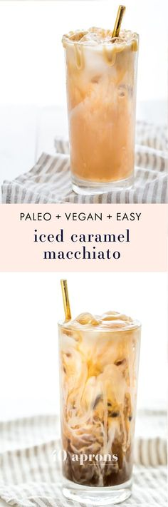 This paleo iced caramel macchiato is so rich and refreshing without any refined sugar! Using cold brew for a smooth taste means this paleo iced caramel macchiato is easy to make at home. The perfect vegan iced caramel macchiato for all summer long! Paleo Dessert, Vegan Desserts, Paleo Recipes Easy, Primal Recipes, Summer Recipes, Yummy Drinks, Healthy Drinks, Healthy Smoothies, Homemade Smoothies
