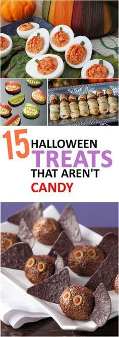 Those Halloween Eggs! 15 Halloween Treats That Aren't Candy Soirée Halloween, Halloween Dinner, Halloween Goodies, Halloween Food For Party, Easy Halloween Treats, Halloween Decorations, Halloween Finger Foods, Healthy Halloween, Fall Recipes