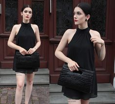 Get this look: http://lb.nu/look/8600951  More looks by Justyna Lis: http://lb.nu/justynalis  Items in this look:  Black Bag   #chic #classic #street #black #snakeskin #dress #blackdress #littleblackdress #elegant