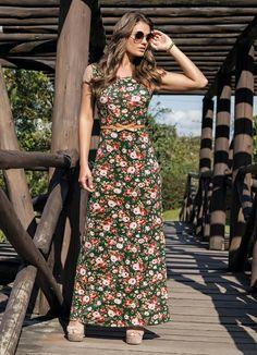 Vestido Longo com Tule Floral Moda Evangélica - Rosalie