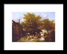 Thomas Sidney Cooper Milking Time - Study Of A Farm-yard Near Canterbury 1833�4 Framed Print featuring the painting Study of a Farm by MotionAge Designs Fine Art Prints, Framed Prints, World Famous Artists, Farm Yard, Canterbury, Vintage Travel Posters, Frame Shop, Van Gogh, Clear Acrylic