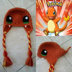Gotta catch 'em up - and you can start with this Crochet Charmander Beanie/Hat