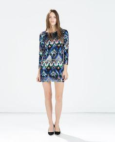 ETHNIC PRINT SEQUINNED DRESS - Printed - Dresses - WOMAN | ZARA United Kingdom