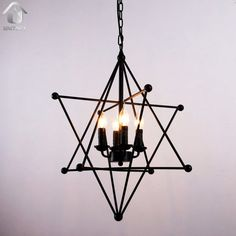 Black Vintage Star Shape Hanging Ceiling Chandelier lighting With 4 Lights - unitarylighting Star Chandelier, Vintage Chandelier, Chandelier Lighting, Hanging Lights, String Lights, Ceiling Lights, Dining Room Lighting, Paint Finishes, Light Painting