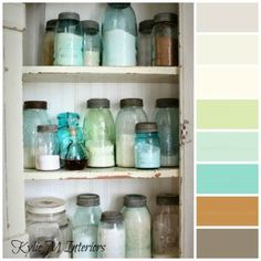 Antique Blue Mason Jars still make the most attractive storage containers. Useful and decorative! They are perfect for this rustic kitchen. ~ Mary Walds Place - Rustic Farmhouse: My Wall Cupboard finally up for Mothers Day! Shabby Chic Kitchen, Shabby Chic Homes, Vintage Kitchen, Kitchen Rustic, Vintage Pantry, Warm Kitchen, Stylish Kitchen, Look Vintage, Vintage Decor