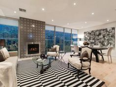 Black and white rug living area