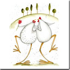 Dancing Hens Greeting Card www.theskinnycardcompany.co.uk