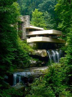 Fallingwater, a house by Frank Lloyd Wright, architect