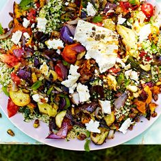 Griddled vegetables & feta with tabbouleh Jamie Oliver (made this with Quinoa and it was awesome! Veggie Recipes, Vegetarian Recipes, Cooking Recipes, Healthy Recipes, Veggie Bbq, Grilling Recipes, Meze Recipes, Feta Cheese Recipes, Chicken Recipes