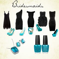 Teal is the wrong color, but I like the idea of having each bridesmaid wear a dress in the same color but different styles to fit their personality.