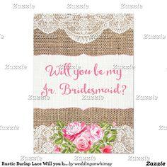 Rustic Burlap Lace Will you be my Jr Bridesmaid